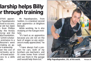 Scholarship Helps Billy Motor Through Training – Maribyrnong Leader, Victoria