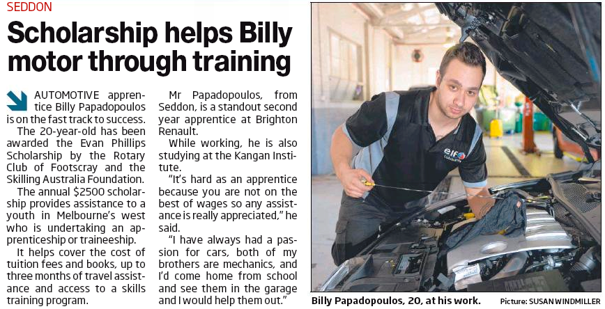 Scholarship Helps Billy Motor Through Training